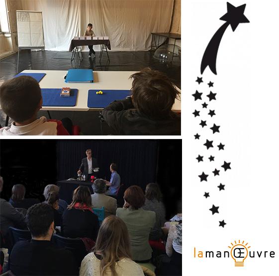 Des élèves apprennent des tours pendant un cours de magie