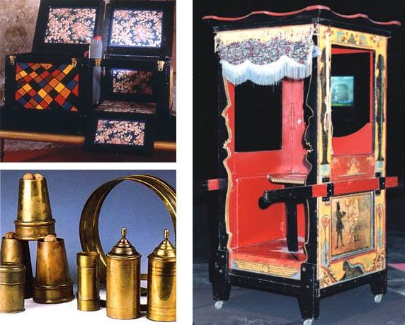 Des exemples de matériels et accessoires de magiciens exposés au musée de la magie