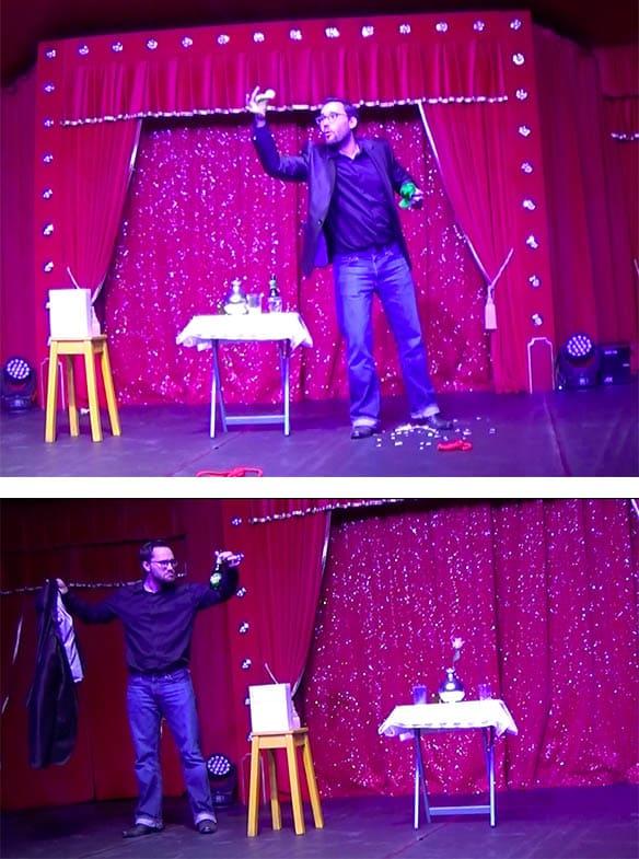 Spectacle d'un magicien lausanne sur scène avec des objets dans les mains